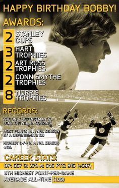 Happy Birthday Number //Not to take anything away from Gretzky but Orr was truly the Greatest One. Team Player, Hockey Players, Bobby Orr, Boston Bruins Hockey, Nhl Season, Boston Sports, Old Tv Shows, National Hockey League
