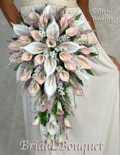 Items similar to Gorgeous MARILYN CASCADE pink Complete Bridal Bouquet Package silk flowers wedding feathers bridesmaid bouquets groom boutonniere corsage on Etsy Lily Bouquet Wedding, Cascading Wedding Bouquets, Calla Lily Bouquet, Cascade Bouquet, Bride Bouquets, Bridal Flowers, Bridesmaid Bouquet, Silk Flowers, Calla Lilies