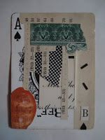 Collaged playing card.