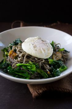 Sepia Pasta with Broccoli Rabe and Poached Egg - Samantha Ferraro