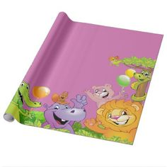 Safari jungle birthday with smiling animals pink wrapping paper - diy cyo personalize design idea new special custom
