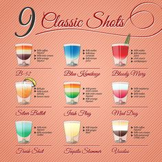 Nine Popular Alcohol Shots Recipes And Illustrations On Vintage. Royalty Free Cliparts, Vectors, And Stock Illustration. Image Vector - Nine popular alcohol shots recipes and illustrations on vintage background Jello Shot Recipes, Alcohol Drink Recipes, Shooter Recipes, Malibu Recipes, Easy Shot Recipes, Pudding Shot Recipes, Rum Punch Recipes, Pudding Shots, Cheesecake Recipes