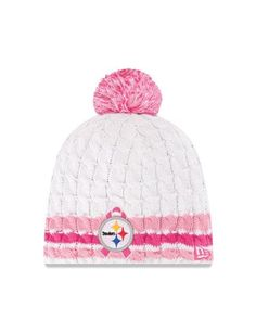 Pittsburgh Steelers New Era Breast Cancer Awareness Striped Knit Hat Beat  Cancer 1645012ce