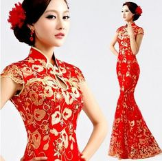 fashionable red chinese print dresses - Google Search