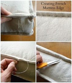 Sewing Projects DIY Tufted French Mattress Cushion-Creating French Mattress Edge - An Oregon Cottage - Step-by-step tutorial to make your own Ballard-style tufted French mattress cushion in just a few hours using basic material and sewing skills. Sewing Hacks, Sewing Tutorials, Sewing Patterns, Sewing Tips, Fabric Crafts, Sewing Crafts, Sewing Projects, Diy Projects, Drop Cloth Projects