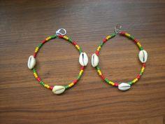Rasta Large Hoop cowry shell earrings by DivaClubChic on Etsy, $15.00