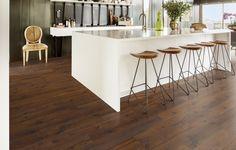 Kahrs Sonata Engineered Oak Hardwood Flooring in Tempo Chevron Floor, Oak Hardwood Flooring, Herringbone Pattern, Bar Stools, New Homes, Interior Design, Furniture, Home Decor, Radiant Heat