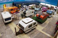 indoor camping - The BaseCamp Hostel Bonn takes indoor camping to the next level. The Fake campground uses RVs, trailers and other camping caravans as rooms. Trailers Vintage, Vintage Trailer Decor, Vintage Caravan Interiors, Retro Caravan, Vintage Caravans, Tiny Trailers, Vintage Rv, Helsingor, Vieux Wagons