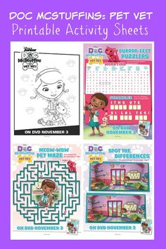 Little Doc McStuffins fans will have fun with these Doc McStuffins Pet Vet Printable Activity Sheets including a maze, coloring sheet, word find and more!