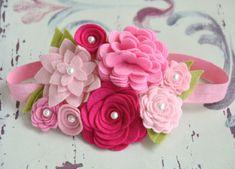 Felt Flower Garland Headband In Pretty Pinks by bloomz on Etsy