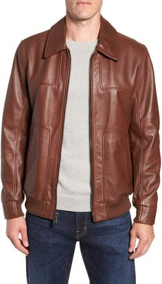 25aedce0fe1 Andrew Marc Vaughn Shirt Collar Leather Bomber Jacket