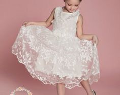 Cream flower girl dress lace baby dress rustic flower girl