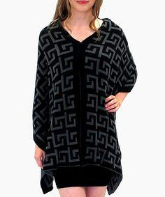 Love this Black & Gray Greek Key Open Cardigan - Plus on #zulily! #zulilyfinds