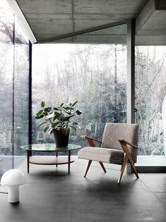 Floor to ceiling glass windows.