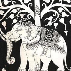 Phad Painting, Worli Painting, Kerala Mural Painting, Fabric Painting, Elephant Tapestry, Dorm Tapestry, Elephant Art, White Elephant, Indian Elephant