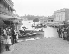 Boats on Brisbane Street, during flood, Ipswich, 1893