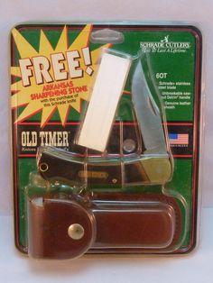 Schrade Old Timer Knife 6OT Lockback Leather Sheath Sharpening Stone New in Pkg #Schrade