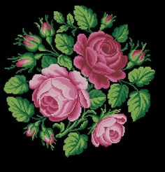Reconstructed from a century original, and could be done in tent stitch, or cross stitch. Cross Stitch Pillow, Cross Stitch Rose, Cross Stitch Flowers, Cross Stitch Charts, Cross Stitch Designs, Cross Stitch Patterns, Rose Embroidery, Cross Stitch Embroidery, Black And White Flower Tattoo