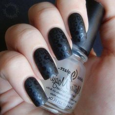 Matte black nails with black leopard print!!!