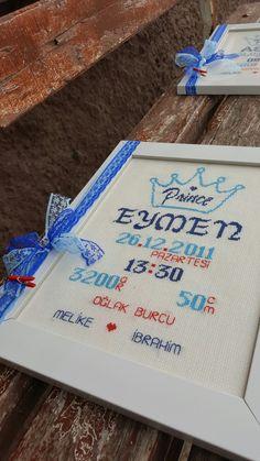 Erkek bebek doğum panosu kanavice etamin mavi lacivert kırmızı prens taci