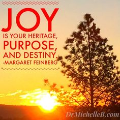 Joy is your heritage, purpose, and destiny. Margaret Feinberg  #Joy #HopePrevails #DrMichelleBengtson