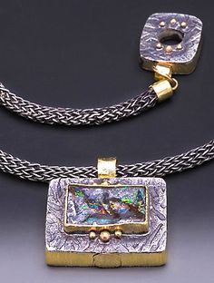 Laurie MacAdam Pendant - Boulder Opal Sterling Silver and 14 Karat gold