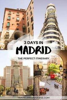 Need some inspiration for your next trip to Madrid? If you only have 3 days in Madrid here are the perfect things to do in Madrid on a long weekend break incluing shopping opportunities art museums palaces restaurants and tapas bars. Spain Travel Guide, Europe Travel Tips, Travel Destinations, Backpacking Europe, Travel Guides, Madrid Attractions, Madrid City, Madrid Tapas, Week End En Amoureux