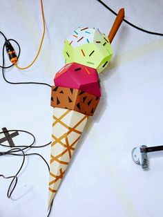 Paper Ice cream cone, for Galeries Lafayette, by Atelier Morse  © julie ansiau
