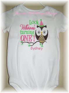 Look Whooo's Turning One Embroidered Shirt by AYBoutique on Etsy, $22.00