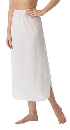 aa394883d9808 Fashion Women Half Slip Skirt Sexy Lace Trim Loose Underskirt Casual ...
