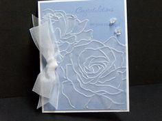 Wedding card handmade vellum roses over by TheLanguageofPaper, $4.50