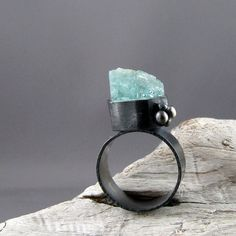 Raw Aquamarine Fine and Sterling Silver Ring