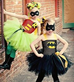 Batgirl and Robin - #Kids #Halloween #Costumes @Carrie Mcknelly Mahoney we could totally do this with the girls some year!!!