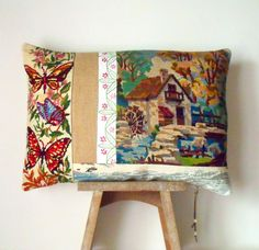 UNIQUE French Needlepoint Tapestry & Antique by Retrocollects £40 https://www.etsy.com/shop/Retrocollects