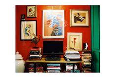 books, table, tv