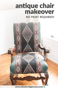 DIY chair makeover turns an outdated upholstered thrifted rocking chair into a modern beauty while retaining the antique aspects! #FurnitureMakeover #FurnitureFlip Diy Furniture Flip, Thrift Store Furniture, Selling Furniture, Chair Makeover, Furniture Makeover, House Projects, Garden Projects, Butterfly House, Antique Chairs