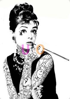 Cuadro tattoo cuadros de tattoo - Cuadros audrey hepburn ...