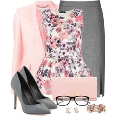 I'm not usually a fan of pink, but I like this outfit. Must be all the gray that helps mellow out the pink. #TheCreativeCottage