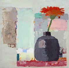 Sydney Licht, Still Life with Red Flower 2015, Oil on panel