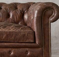 Restoration Hardware - Kensington Leather Sofa in Vintage Cigar