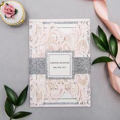 Elegant upscale blush and silver glittery laser cut wedding invitation kits with belly bands and tags from Elegant Wedding Invites. Neutral Wedding Colors, Summer Wedding Colors, Blush Wedding Invitations, Laser Cut Wedding Invitations, Wedding Ideias, Blush Pink Weddings, Marie, Wedding Planning, Wedding Decorations