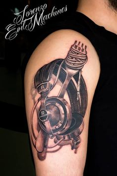 Headphones and Coocking Realistic Tattoo by Lorenzo Evil Machines, Roma - Italia