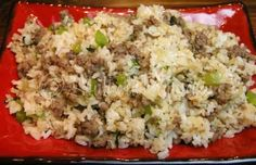 homemade dirty rice 4-5 Cups cooked rice 1 pound uncooked sausage (or ground beef) *1 -3 Tablespoons Creole Seasoning (I use Tony Chachere's) 1 stalk celery, chopped 1 small onion, chopped 1/2 Bell Pepper, chopped 2 Tablespoons chopped or minced garlic 4 Tablespoons fresh chopped parsley