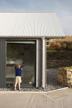 Rural Office for Architecture, New Barn, exterior gray siding, corrugated metal roof, Wales Metal Siding, Gray Siding, Metal Facade, Roof Architecture, Architecture Details, Corrigated Metal, Steel Barns, Corrugated Roofing, Rural House
