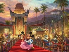 Mickey and Minnie in Hollywood by Thomas Kinkade Studios Mickey Mouse, Disney Mickey, Walt Disney, Disney Couples, Disney Pics, Disney Images, Disney Pictures, Tim Burton, Canvas Artwork