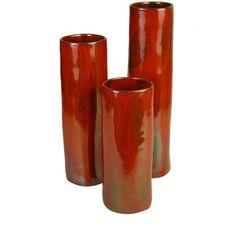 "cylinder vases, basic glazes available sizes; small 4 dia x 11"" h, $58. medium 4 dia x 14"" h, $78. large 4 dia x 17"" h, $98."