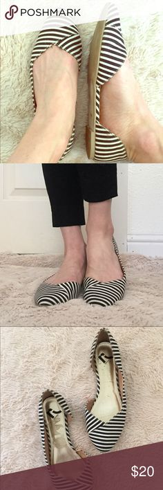 Black & White Striped Flats by Report *Size: 7 *Style: Sinatra *Adorable black and cream striped flats with soft pointed toe *Fabric upper, balance manmade *Great used condition, a couple slight dents on shoe bed (covered when worn)—please see pics!  Tags: Report flats Sinatra shoes pointed stripes canvas sale bundle deals summer spring discount clothes Report Shoes Flats & Loafers