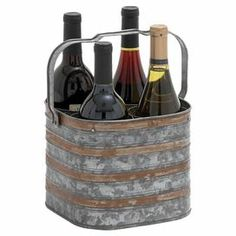 "Distressed iron wine holder with a handle. Holds four bottles.  Product: Wine holderConstruction Material: IronColor: SilverFeatures: Holds four wine bottlesDimensions: 7"" H x 9"" W x 8"" D"