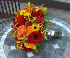 yellow  and brown green red orange Wedding | Wedding, Flowers, Bouquet, Red, Orange, Brown, Bridesmaids, Yellow ...