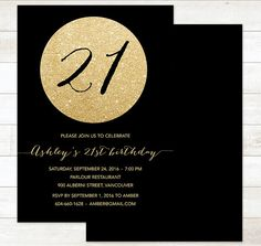 21st birthday party invitation for man male blue silver gray